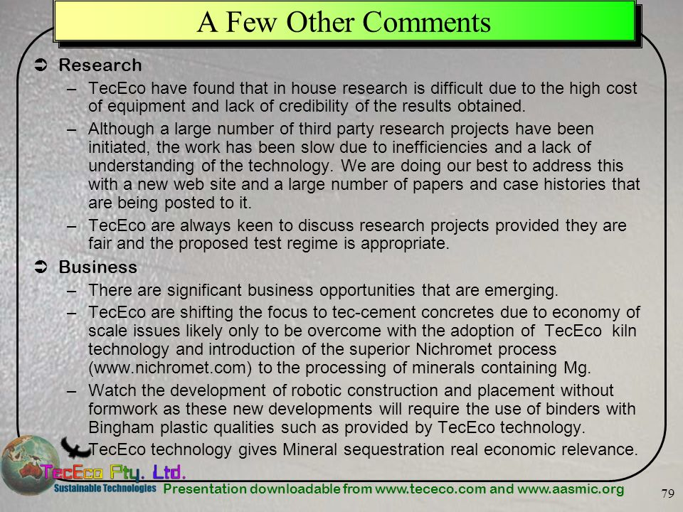 A Few Other Comments Research Business