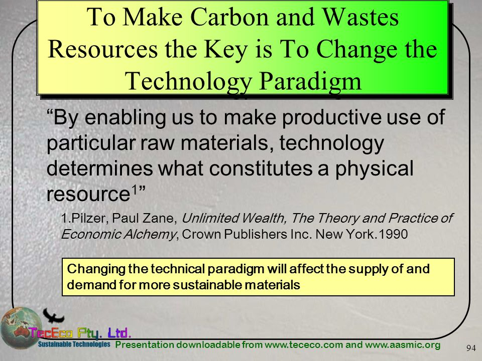 To Make Carbon and Wastes Resources the Key is To Change the Technology Paradigm