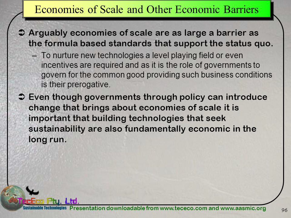 Economies of Scale and Other Economic Barriers