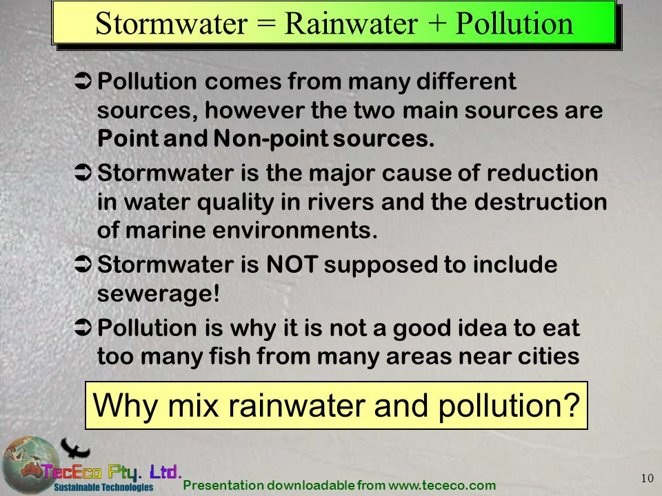 Stormwater = Rainwater + Pollution