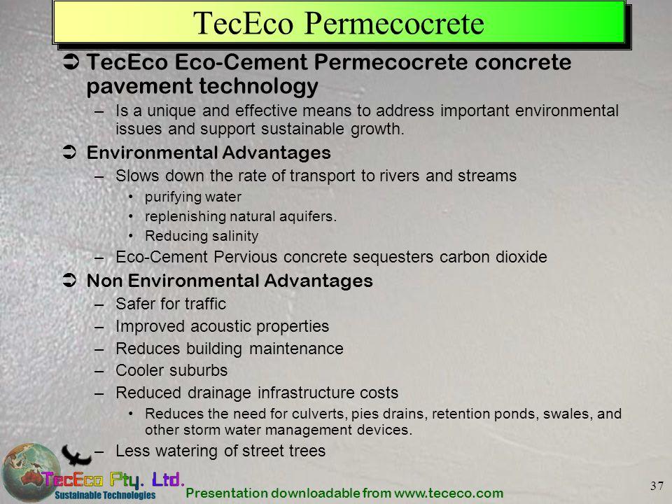 TecEco Permecocrete TecEco Eco-Cement Permecocrete concrete pavement technology.