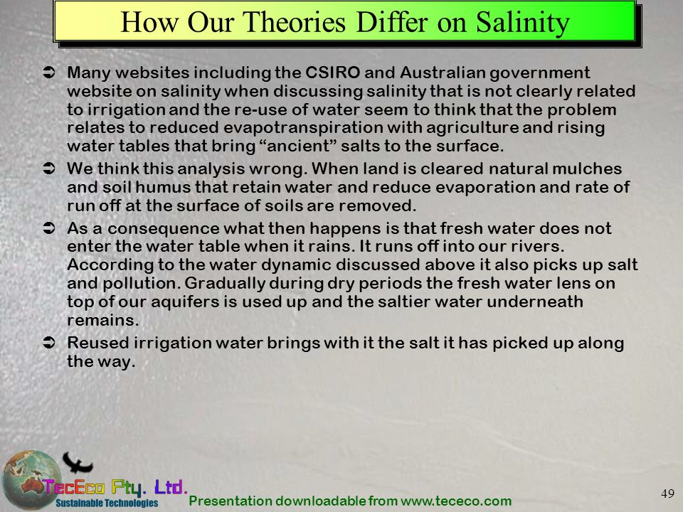 How Our Theories Differ on Salinity
