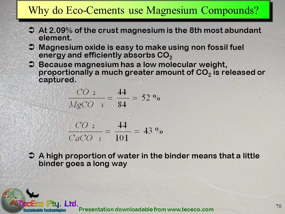 Why do Eco-Cements use Magnesium Compounds