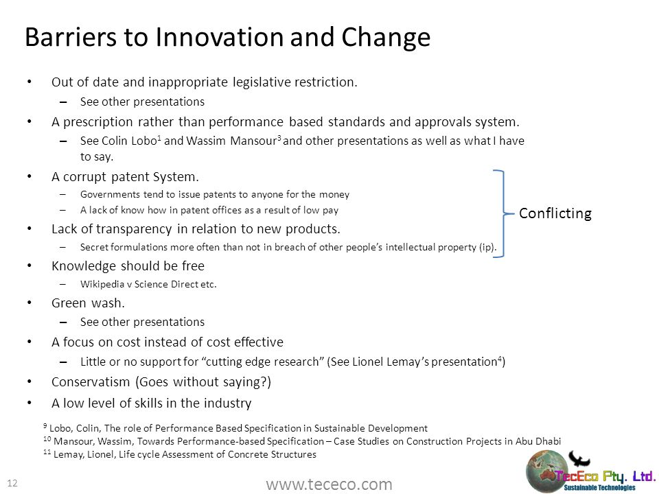 Barriers to Innovation and Change