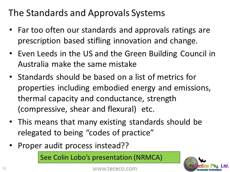The Standards and Approvals Systems