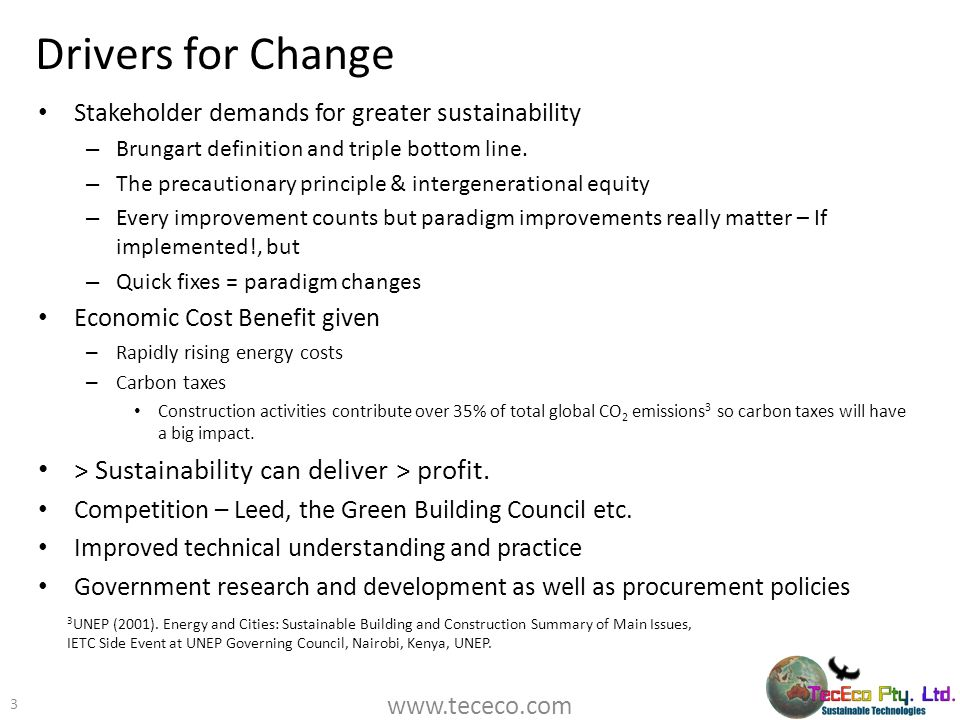 Drivers for Change > Sustainability can deliver > profit.
