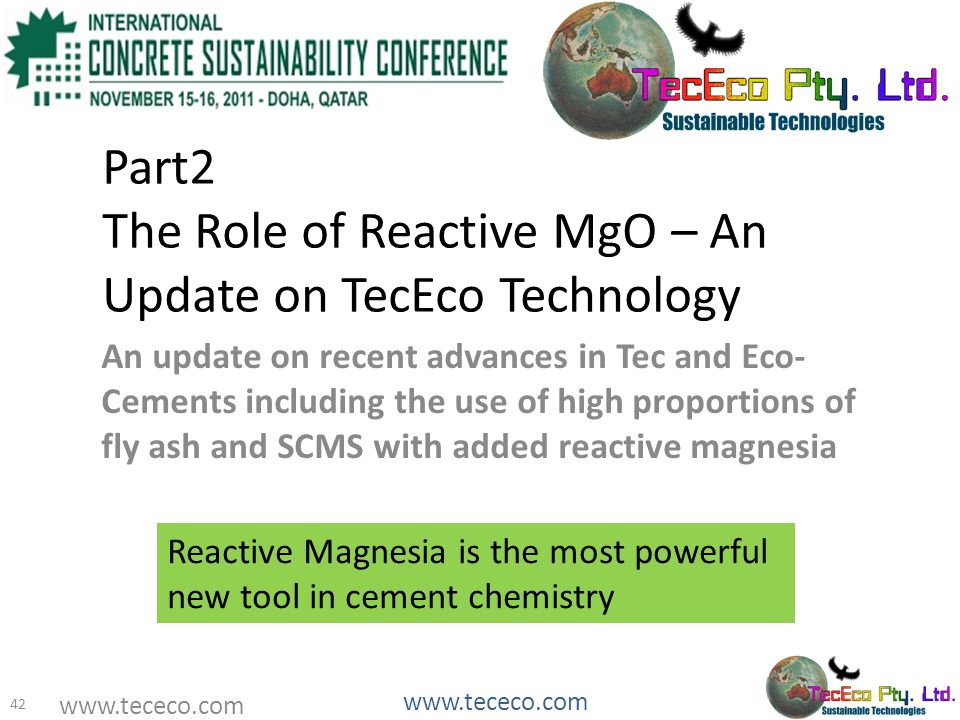 Part2 The Role of Reactive MgO – An Update on TecEco Technology