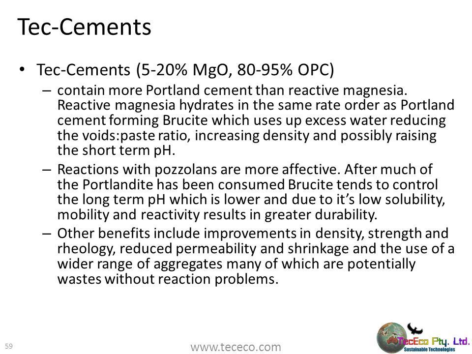 Tec-Cements Tec-Cements (5-20% MgO, 80-95% OPC)