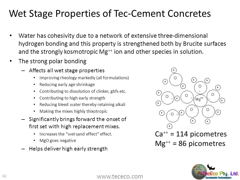 Wet Stage Properties of Tec-Cement Concretes