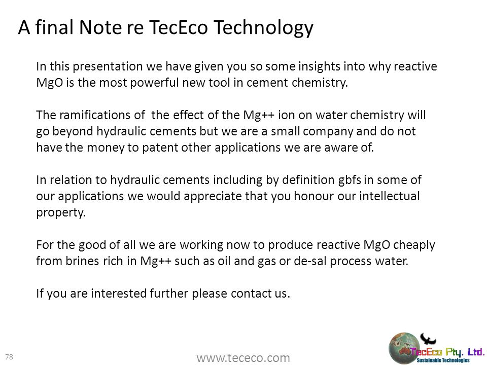 A final Note re TecEco Technology