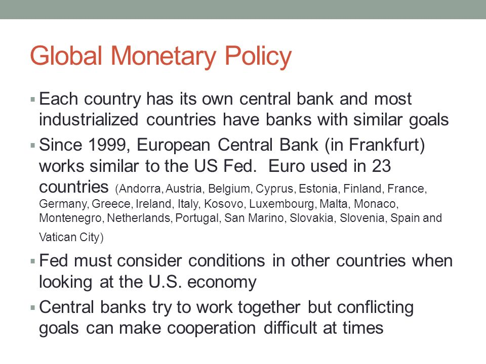 international monetary policy The international monetary fund is an international organization that aims to promote global economic growth and financial stability, to encourage international trade, and to reduce poverty next up.