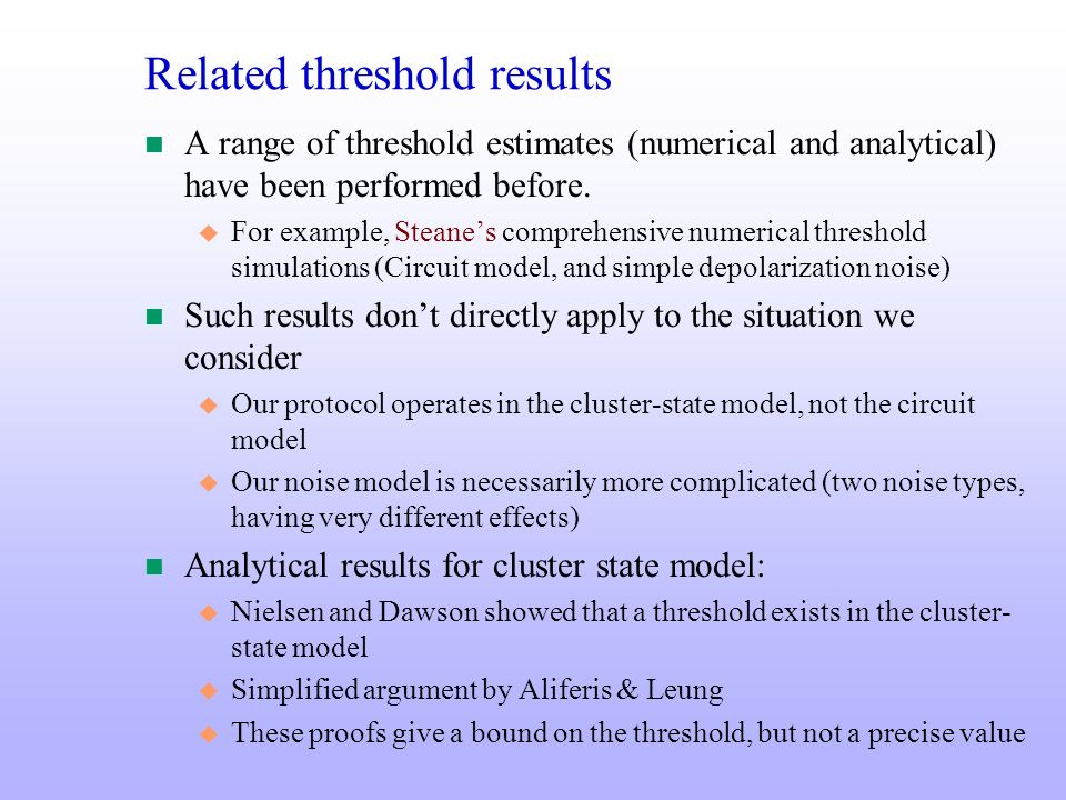 Related threshold results