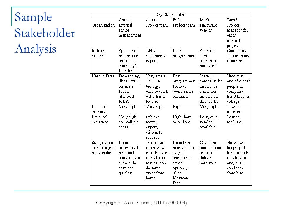 Sample Stakeholder Analysis. Stakeholders Analysis Flat Design