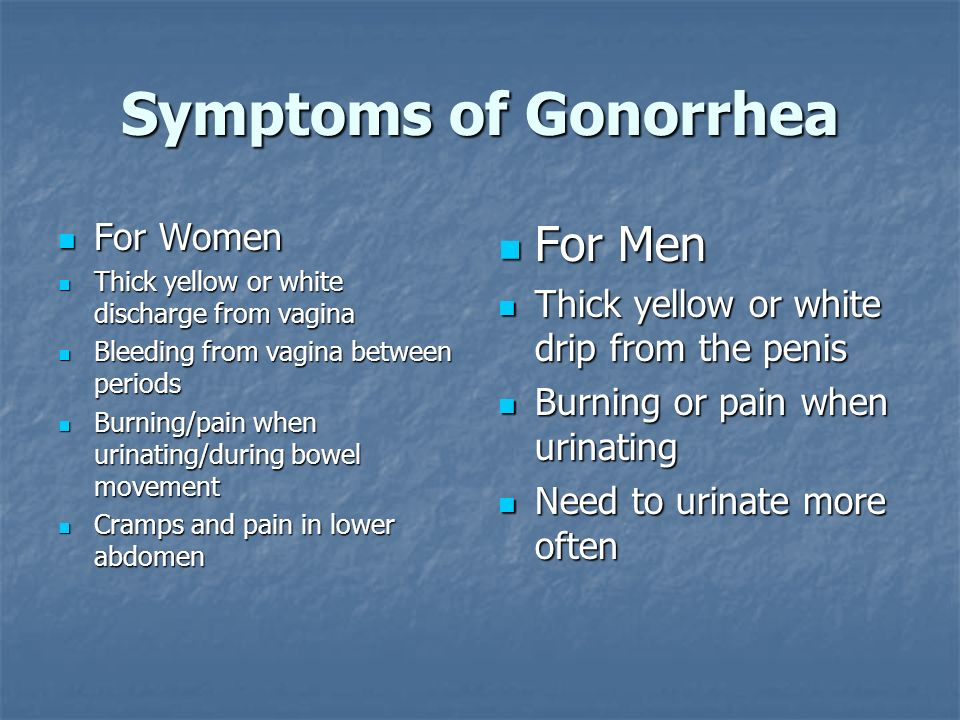 Symptoms of Gonorrhea For Men For Women