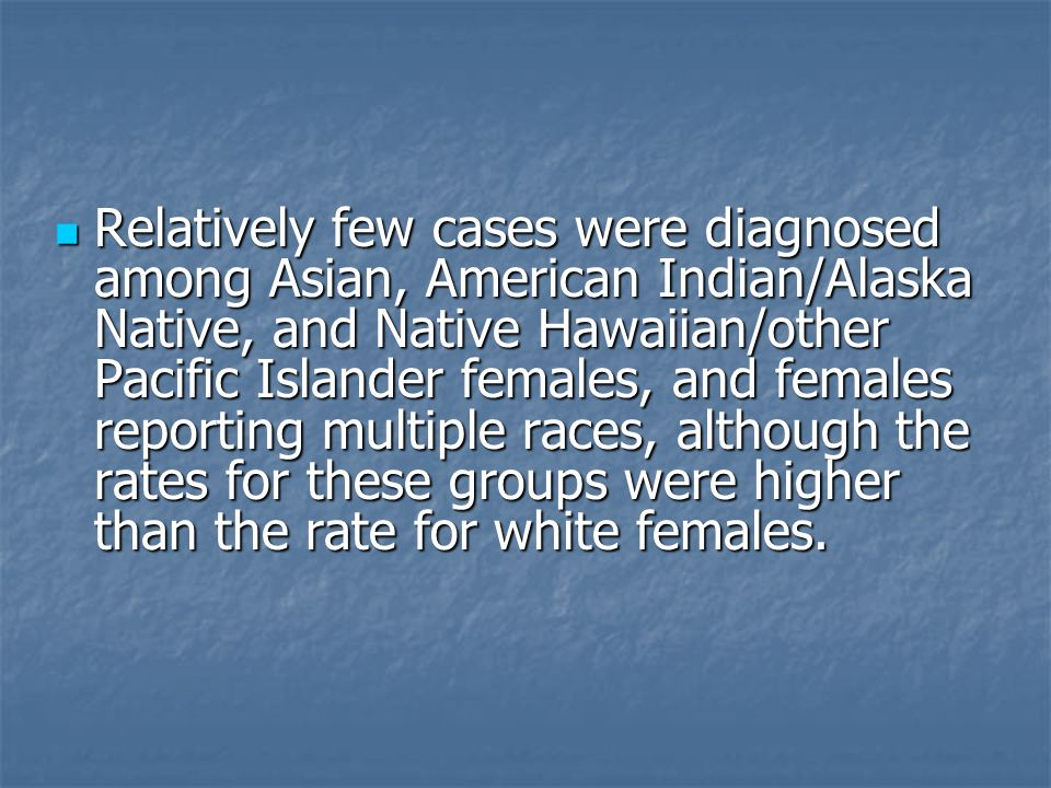 Relatively few cases were diagnosed among Asian, American Indian/Alaska Native, and Native Hawaiian/other Pacific Islander females, and females reporting multiple races, although the rates for these groups were higher than the rate for white females.