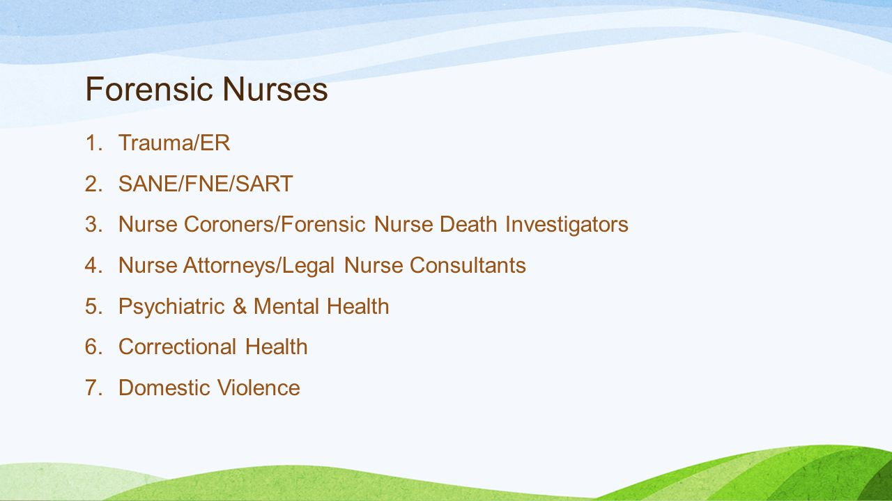 the forensic mental health nurses nursing essay Healthcare by nurses in a forensic mental health setting 6 pages within the field of forensic mental health there are many different approaches used to educate the nursing staff these approaches focus on developing awareness, skill and competence in intercultural care.
