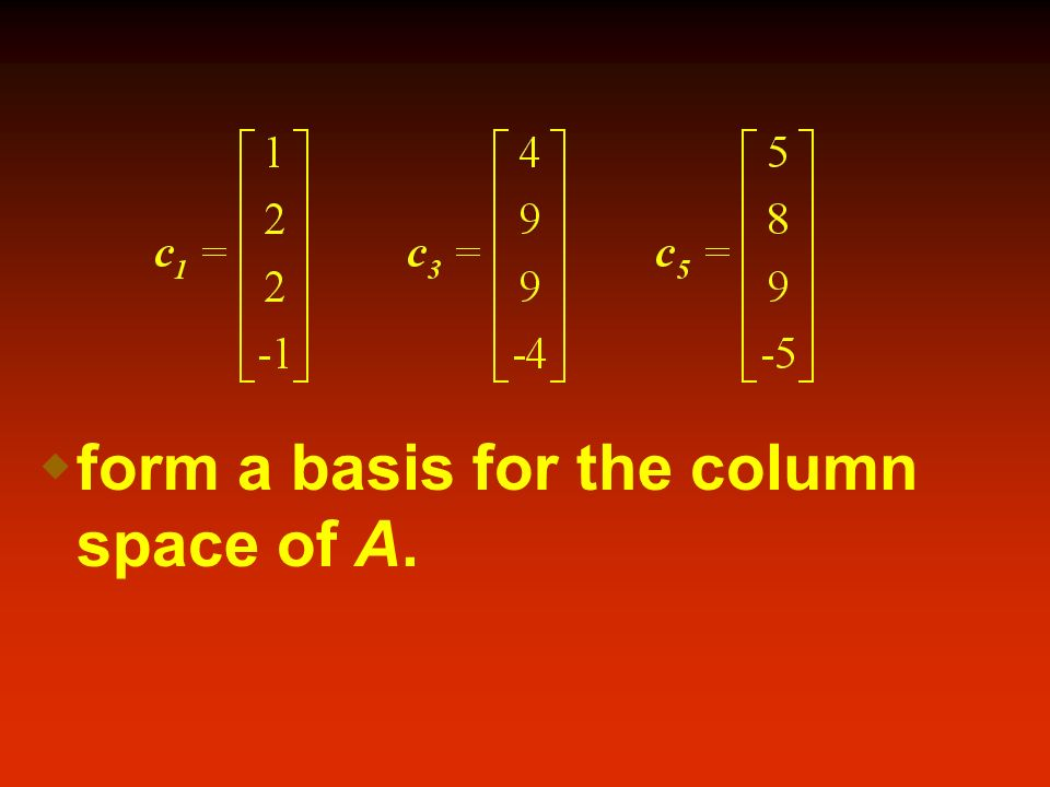 form a basis for the column space of A.