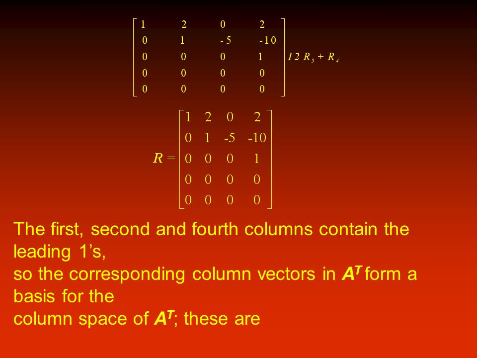 The first, second and fourth columns contain the leading 1's,