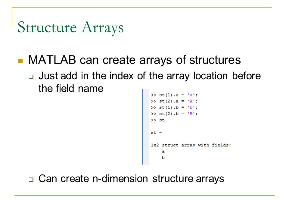 Write an array in matlab