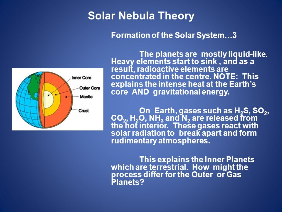 Solar Nebula Theory Formation of the Solar System…3