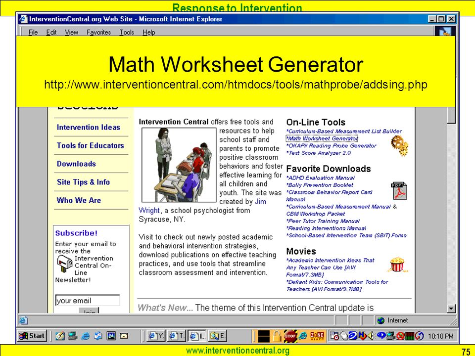 {RTI Issues in Math Assessment Jim Wright ppt download – Intervention Central Math Worksheet Generator