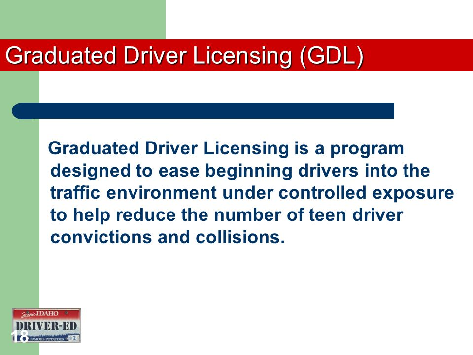 an introduction to the graduated driver license gdl Graduated driver licensing and teen fertility  to implement graduated driver  driving phase prior to transitioning into an unrestricted driver license for.