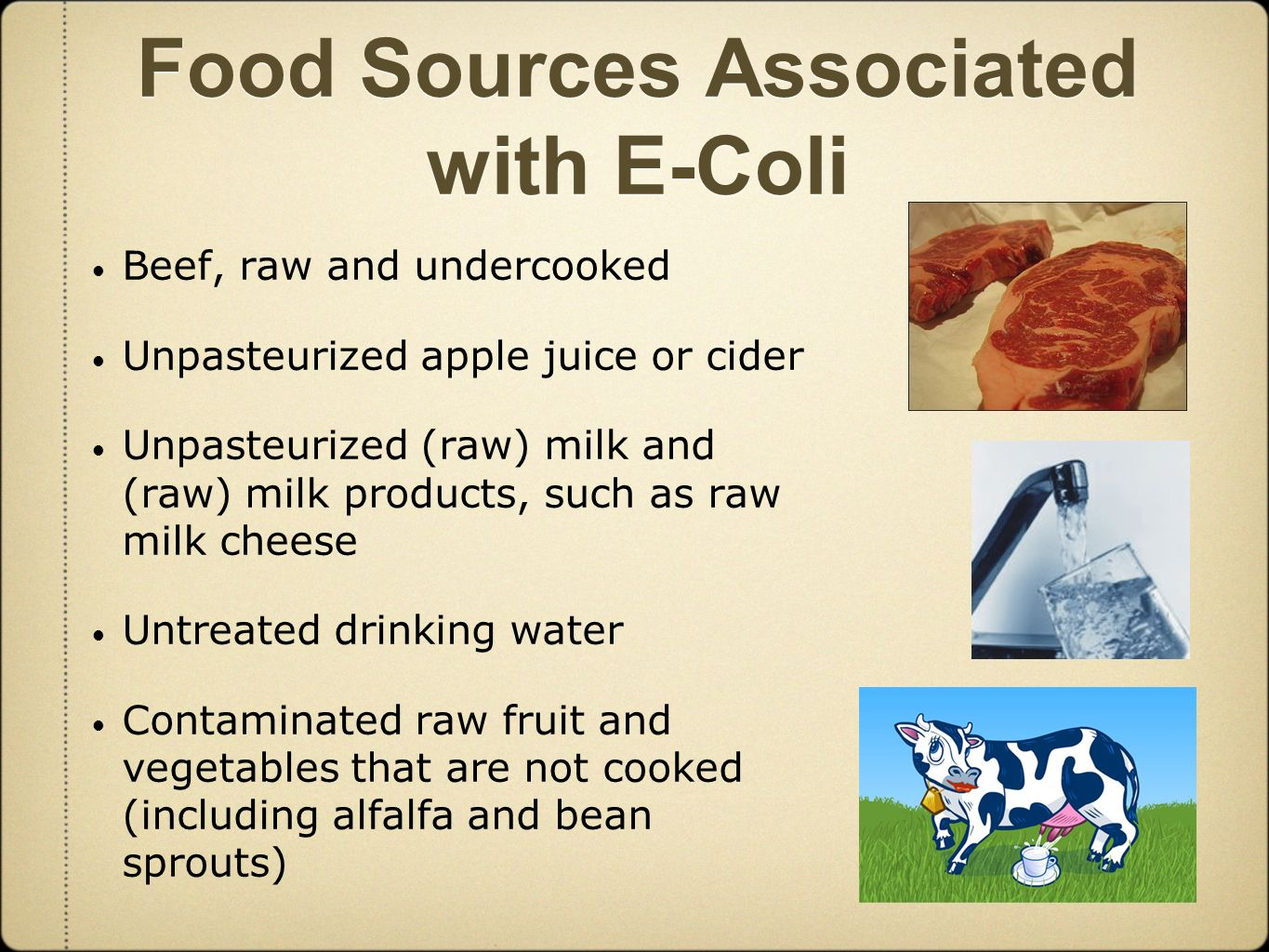 e coli in the food industry Guidance for industry: bottled water and total coliform and e coli small entity compliance guide.