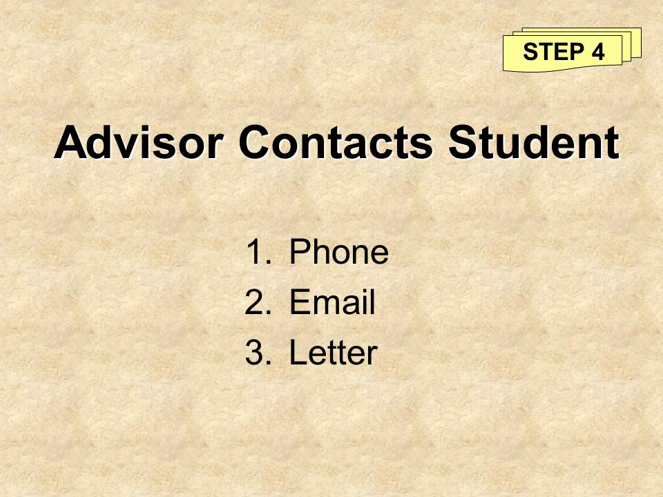 Advisor Contacts Student