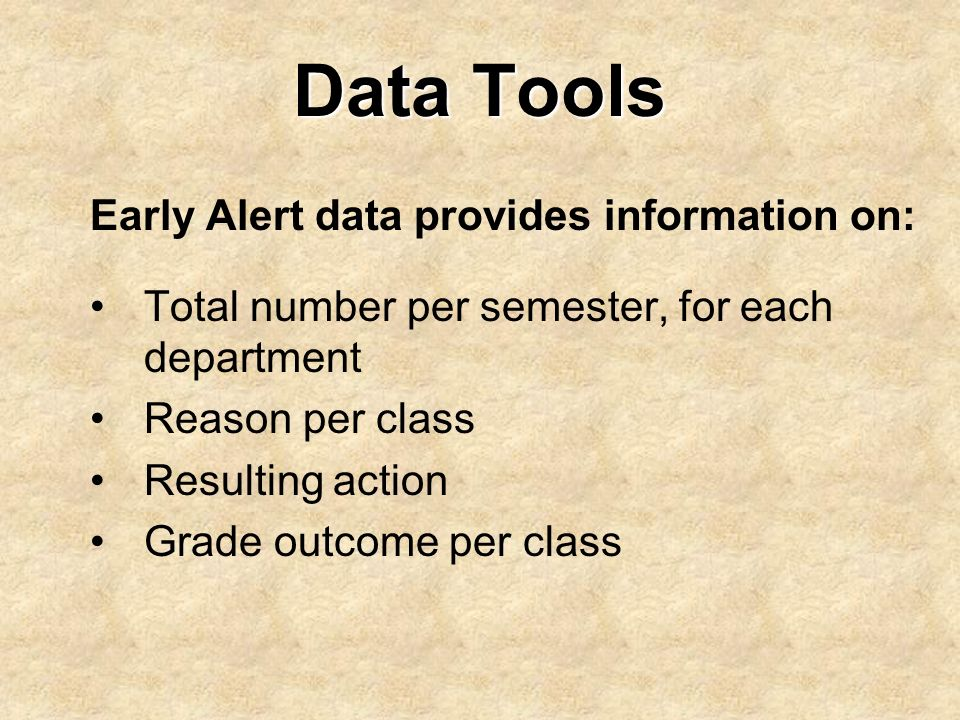 Data Tools Early Alert data provides information on: