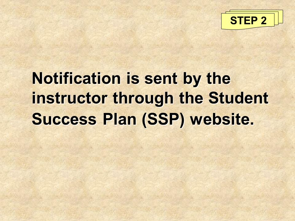 STEP 2 Notification is sent by the instructor through the Student Success Plan (SSP) website.