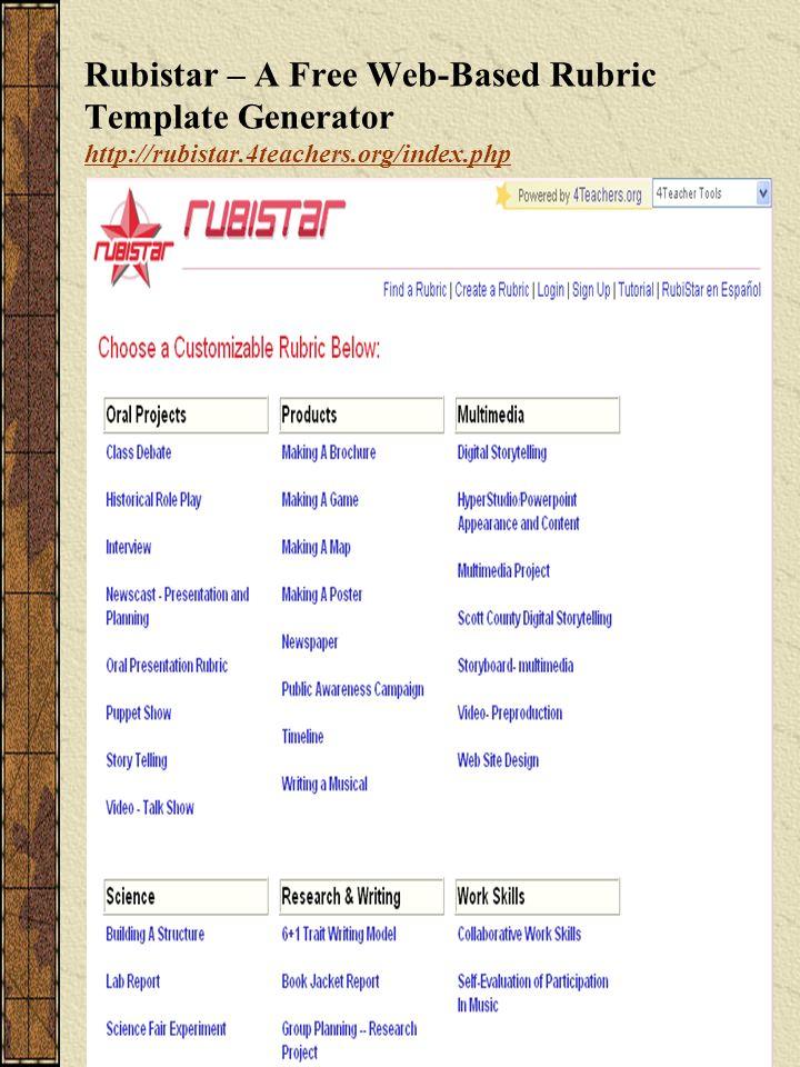 Rubistar – A Free Web-Based Rubric Template Generator http://rubistar