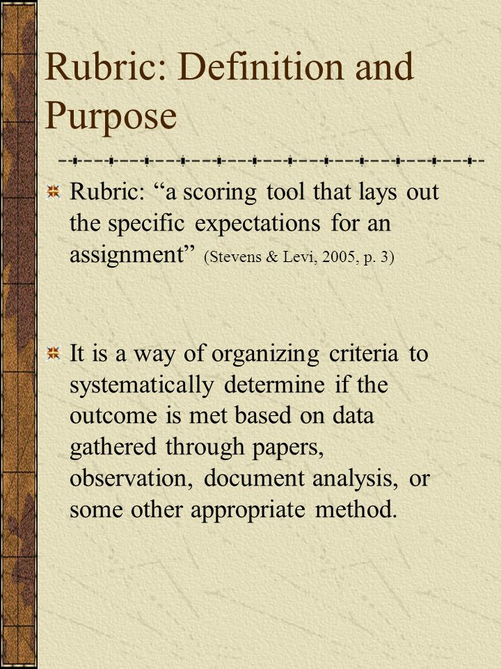 Rubric: Definition and Purpose