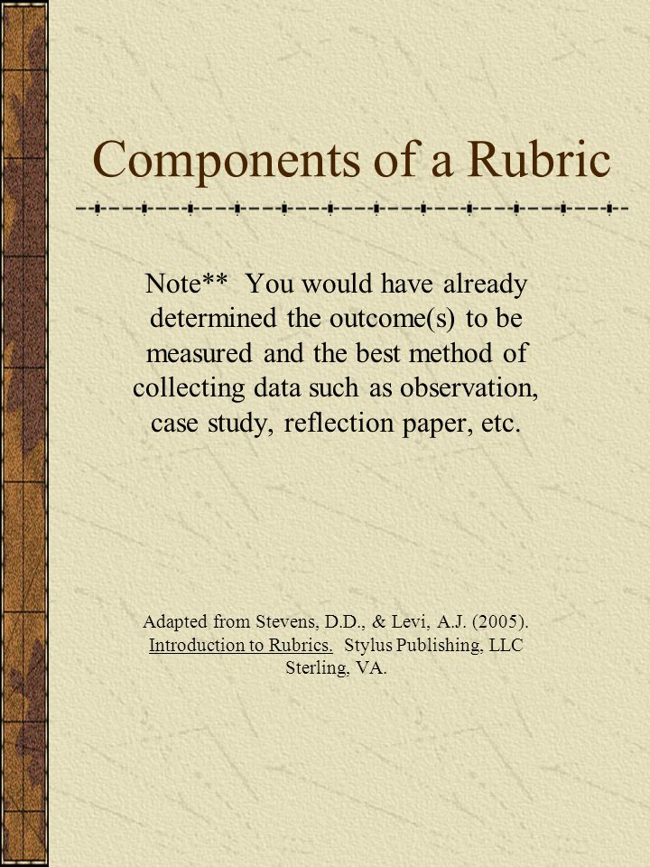 Components of a Rubric
