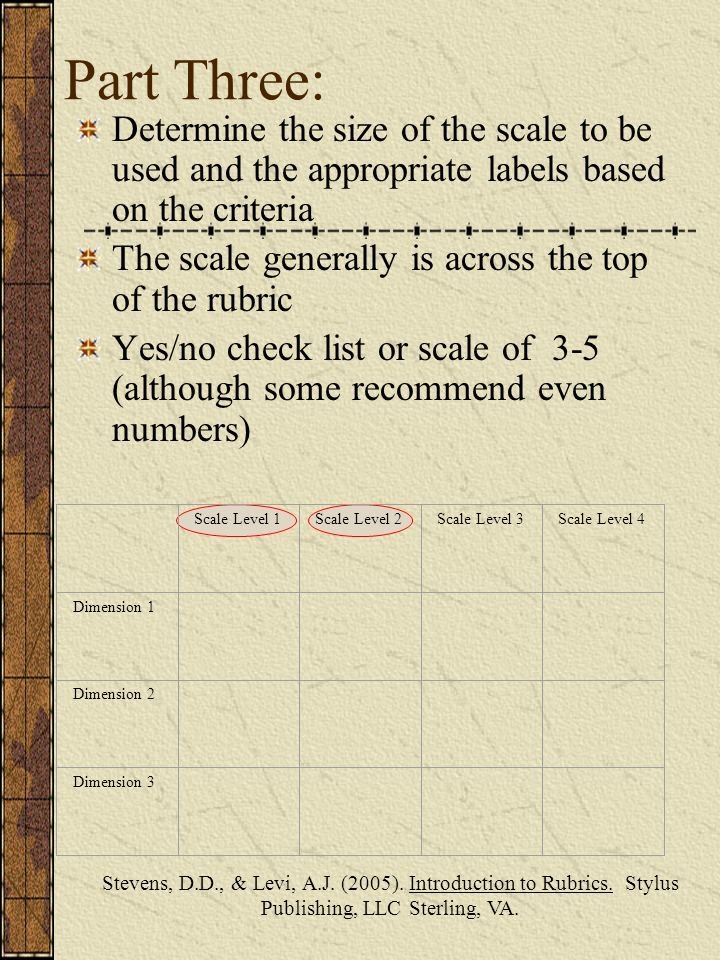 Part Three: Determine the size of the scale to be used and the appropriate labels based on the criteria.