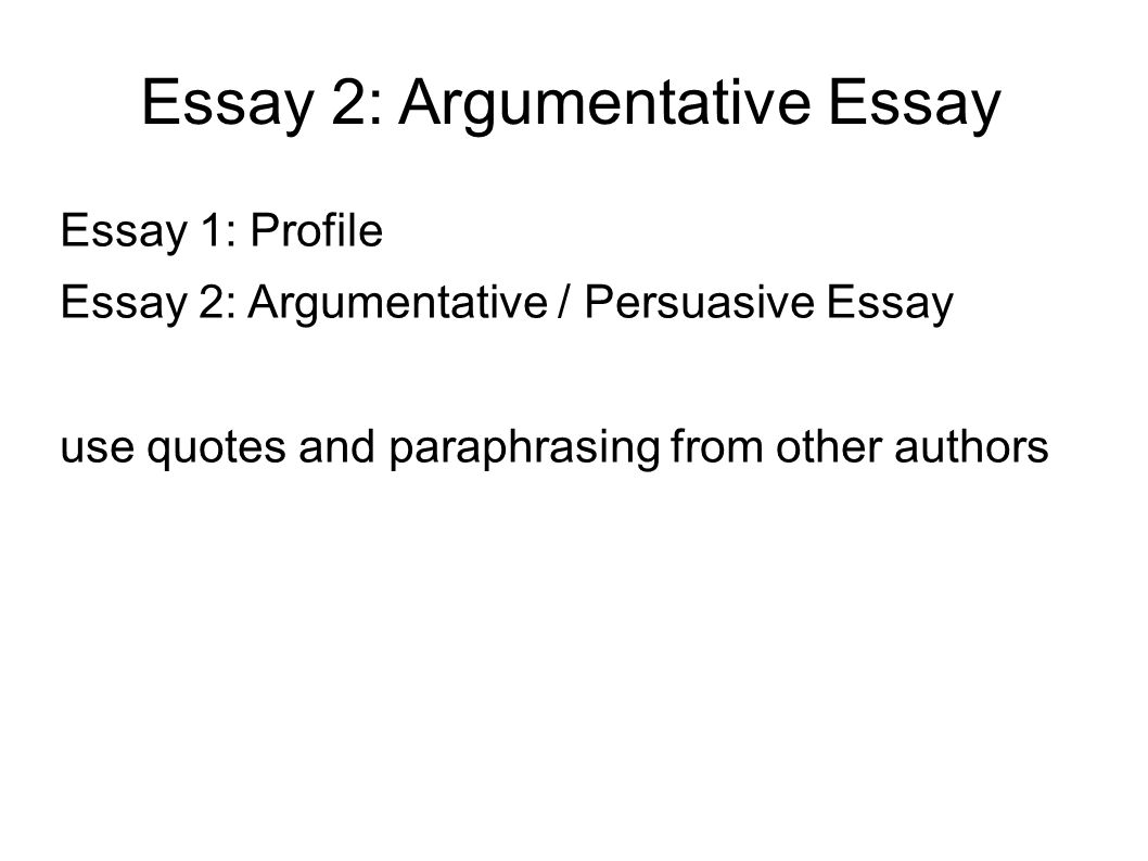 persuasive paper part two Welcome to the purdue owl purdue owl writing lab owl news students should dedicate one or two paragraphs of an argumentative essay to.