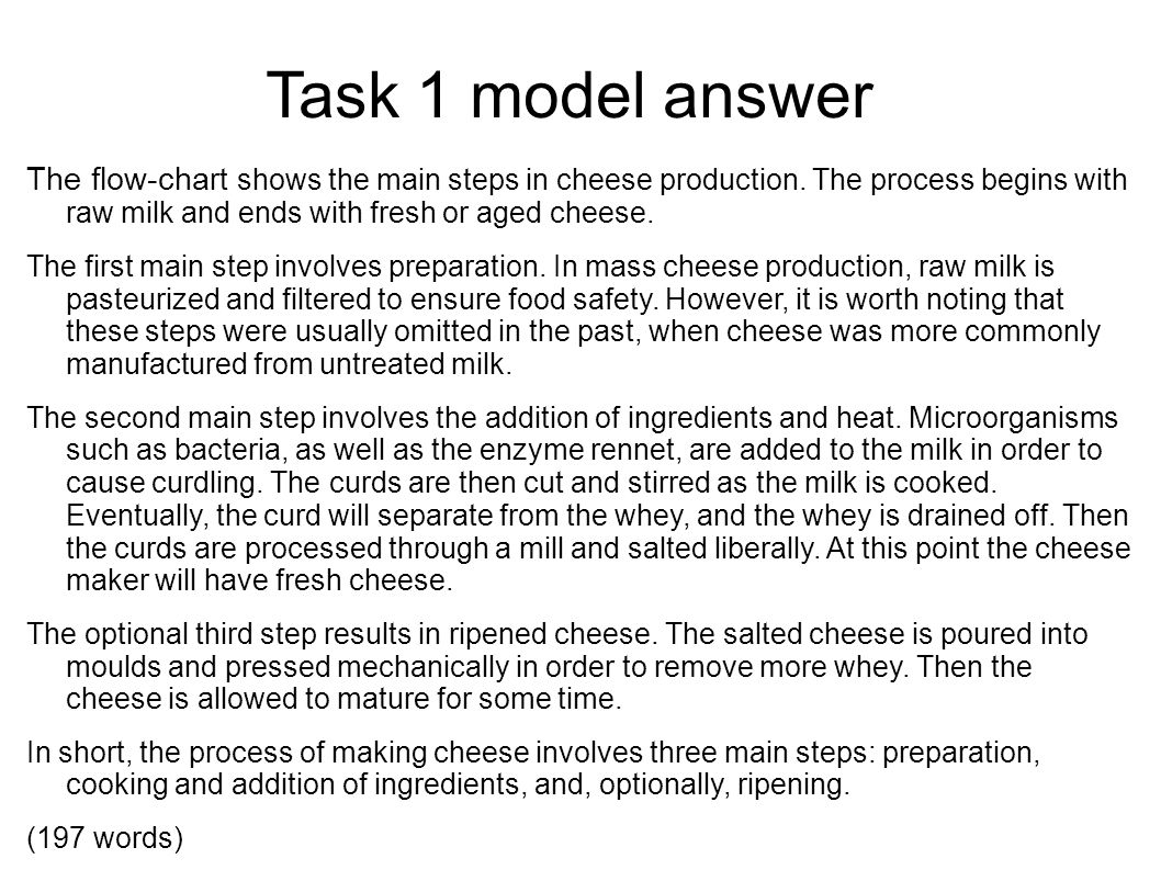 Academic writing ii spring 2013 meet twice a week monday tuesday task 1 model answer the flow chart shows the main steps in cheese production nvjuhfo Choice Image