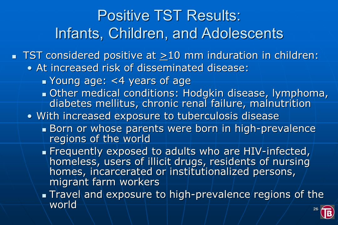 Positive TST Results: Infants, Children, and Adolescents