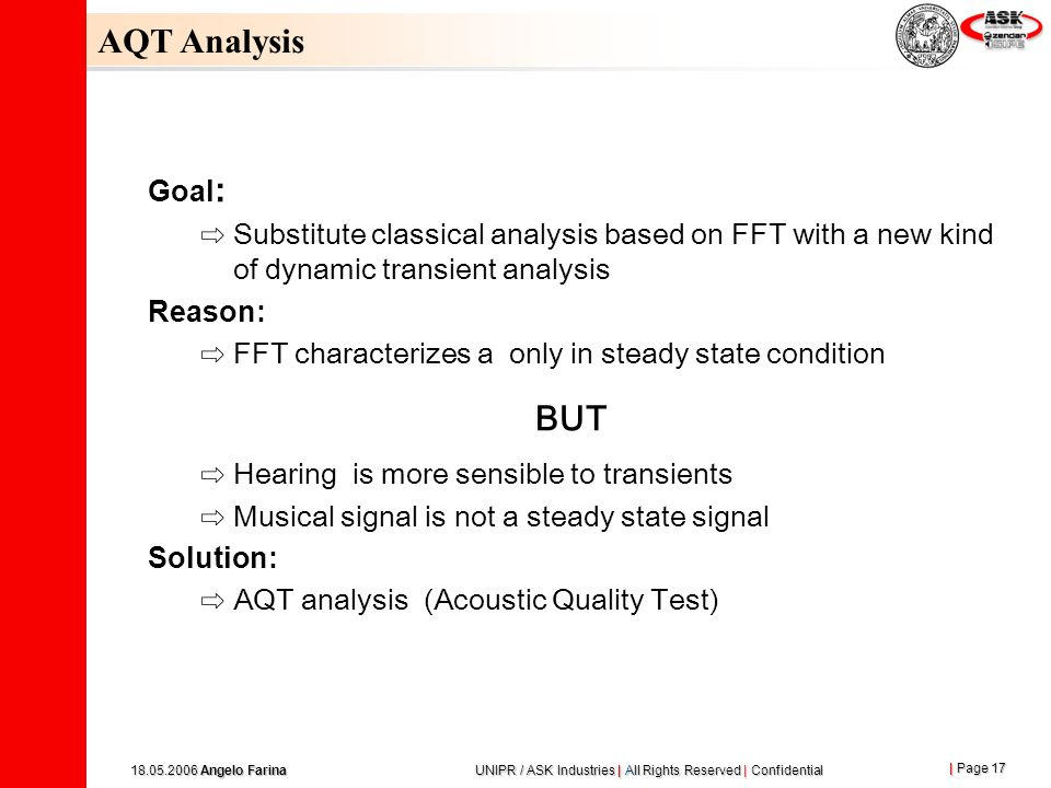AQT Analysis Goal: Substitute classical analysis based on FFT with a new kind of dynamic transient analysis.