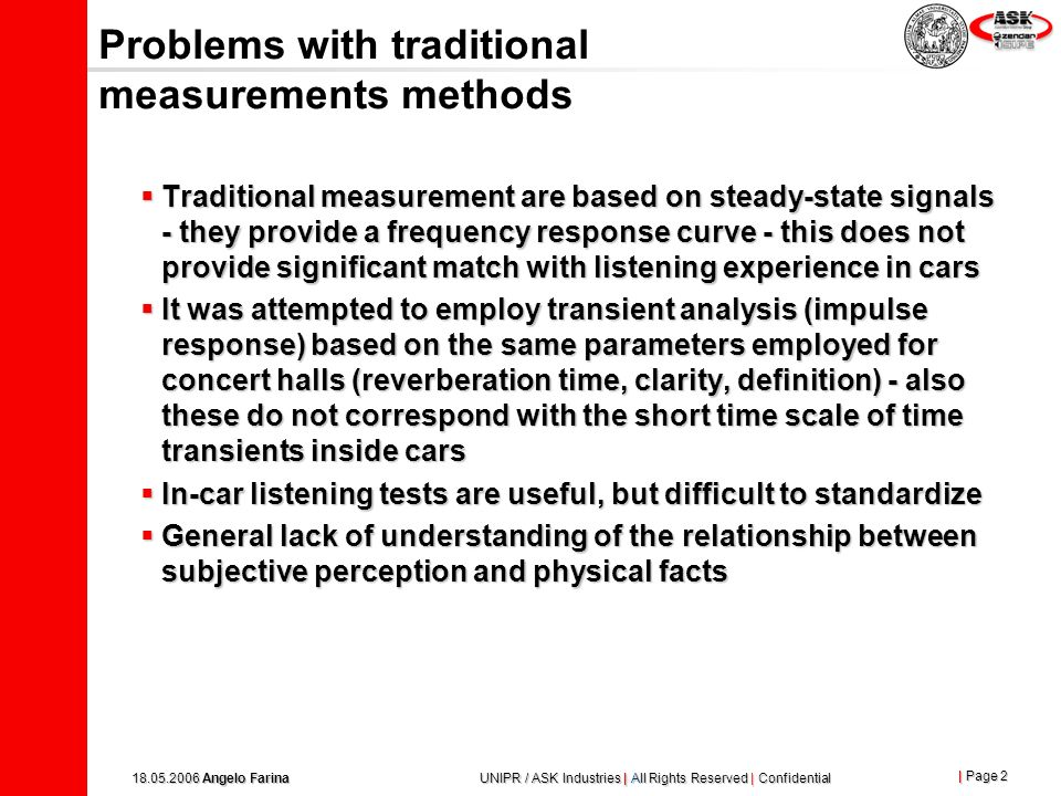 Problems with traditional measurements methods