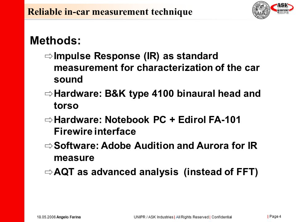 Methods: Reliable in-car measurement technique