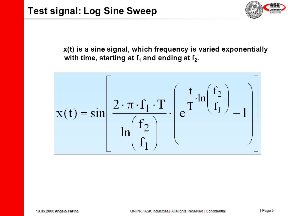 Test signal: Log Sine Sweep
