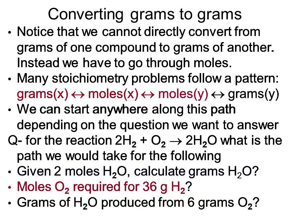 Converting grams to grams