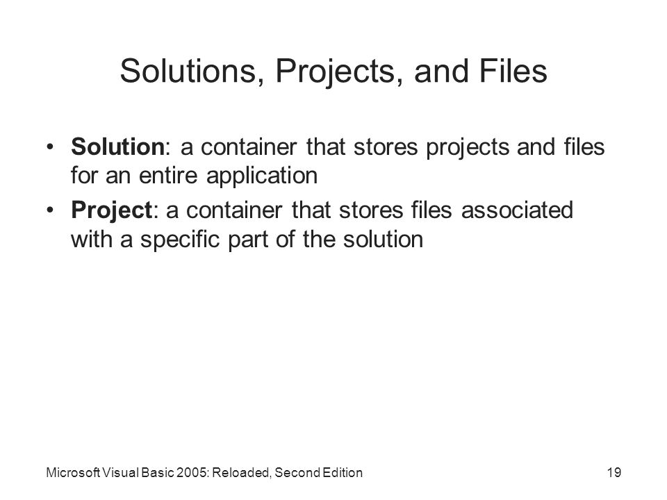 Solutions, Projects, and Files