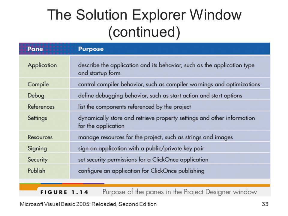 The Solution Explorer Window (continued)