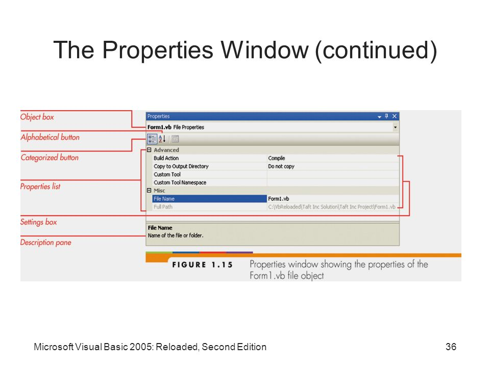 The Properties Window (continued)