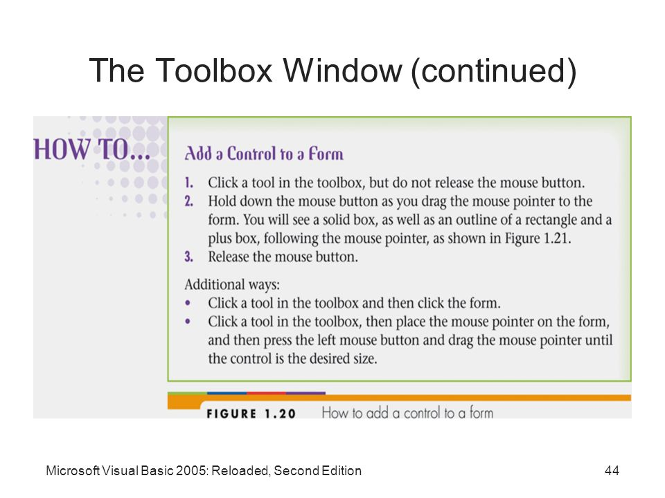The Toolbox Window (continued)