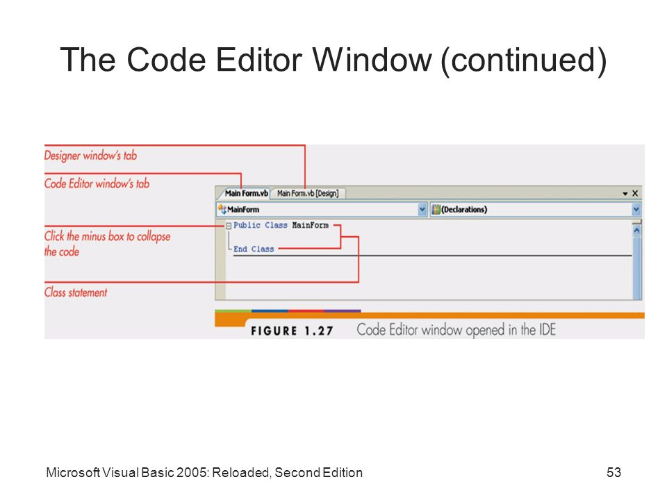 The Code Editor Window (continued)
