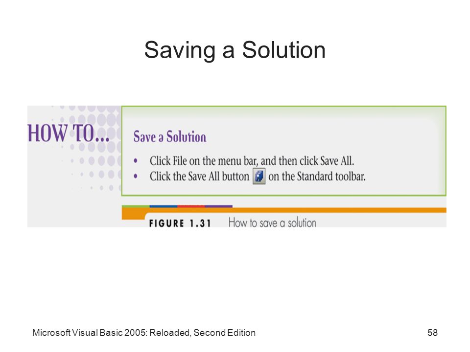 Saving a Solution Microsoft Visual Basic 2005: Reloaded, Second Edition