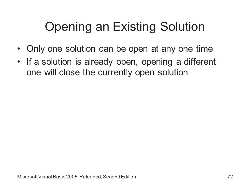Opening an Existing Solution