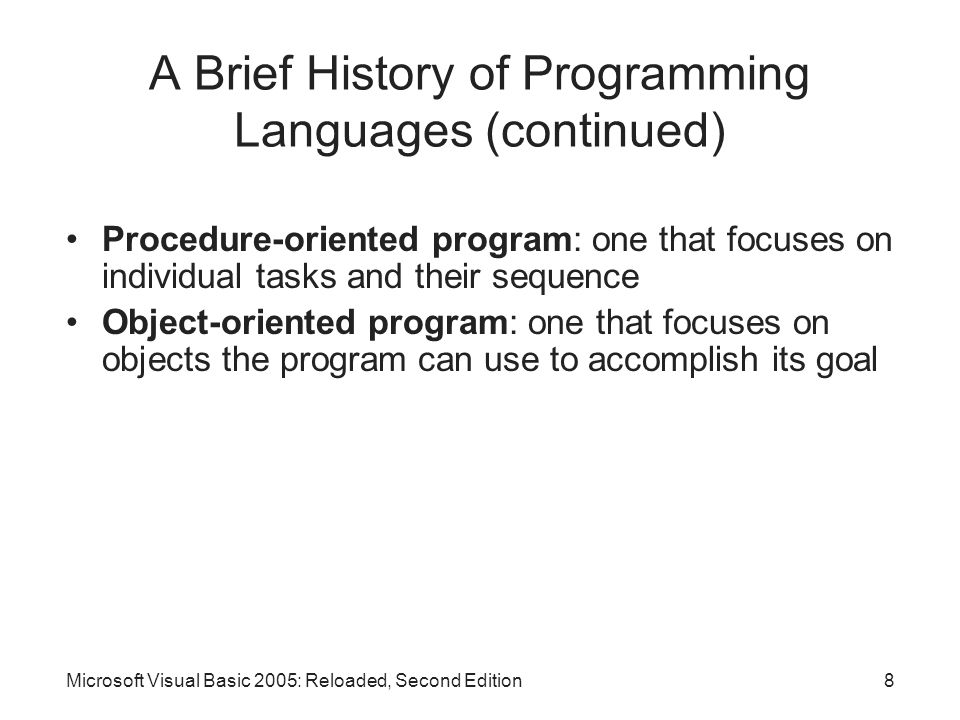 A Brief History of Programming Languages (continued)